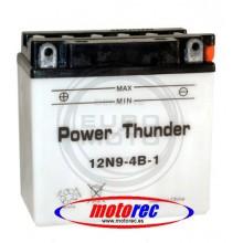 Batería Power Thunder 12N9-4B-1 con ácido
